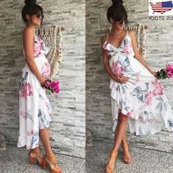 Women Mother Casual Floral Falbala Pregnant Dress For Matern