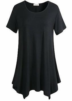 LARACE Women Plus Size Tunic for Leggings Long Tops5X, Black