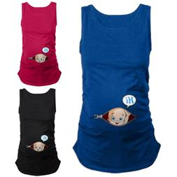 Women Pregnancy Maternity Clothes Cute Cartoon Tank Vest Sle