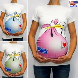Women Pregnancy Maternity Cute Cartoon Short Sleeve Casual T