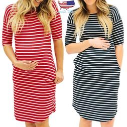 Women Pregnancy Round Neck Short Sleeve Casual Striped Dress