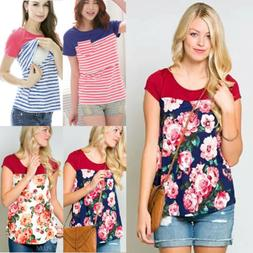 Women Pregnant Maternity Clothes Nursing Top Floral Breastfe