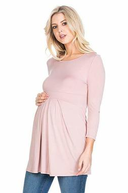 My Bump Women's 3/4 SLV Front Pleated Maternity Top SIZE S