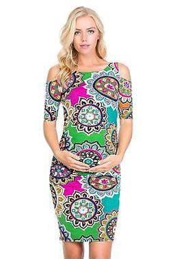 My Bump Women's Cold Shoulder Fitted Maternity Dress W/Side