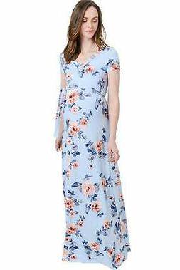 LaClef Women's Faux Wrap Maternity Maxi Dress with Adjustabl