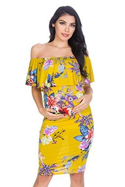 My Bump Women's Floral Ruffle Off Shoulder Maternity Dress