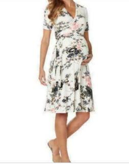 Matty M Women's Floral Wrap Maternity Dress Short Sleeve Ivo