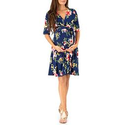 Mother Bee Women's Knee Length Wrap Dress with Belt - Made i