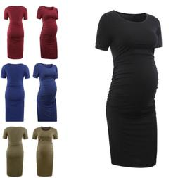 Women's Mama Ruched Maternity Bodycon Dress Causual Short Sl
