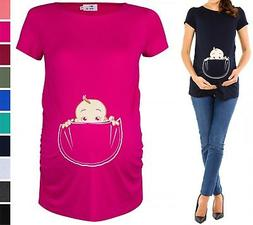 Happy Mama. Women's Maternity Baby in Pocket Print T-shirt T