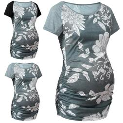Women's Maternity Clothes Floral Spliced Short Sleeves Casua