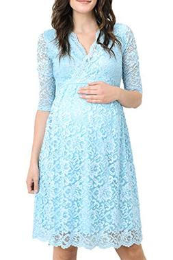 Hello MIZ Women's Maternity Floral Lace Nursing Friendly V N