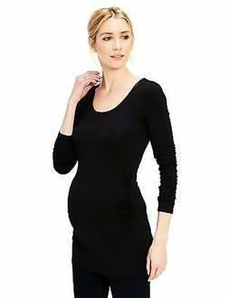 Daily Ritual Women's Maternity Long-Sleeve Ruched Side T-Shi