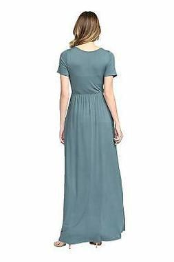 LaClef Women's Maternity Maxi Wrap Dress with Side, Turquois