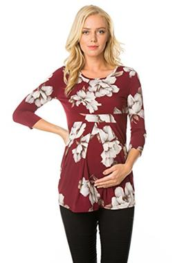 My Bump Women's Maternity Top - 3/4 Sleeves Pleated Front Ul