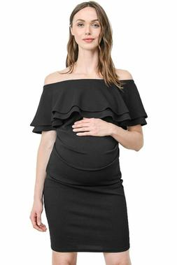 LaClef Women's Off Shoulder Maternity Dress with Double Ruff