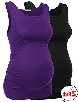 Hotouch Women's Pregnancy Tops Solid Maternity Clothes Side
