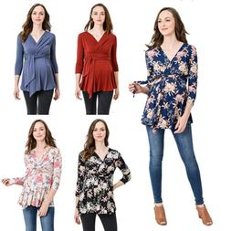Women's Pregnant Clothes Maternity Shirt Blouse V Neck Long