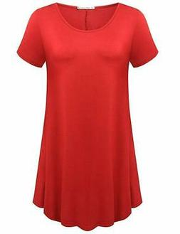 JollieLovin Women's Short Sleeve Loose Fit Flare Hem T Shirt