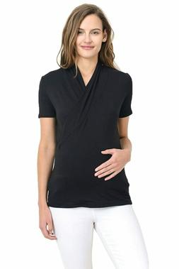 LaClef Women's Short Sleeve Surplice Maternity Nursing Top