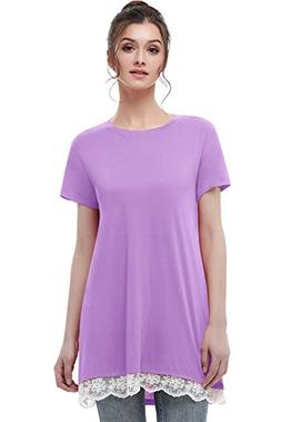 Musever Women's Short Sleeves Tunic Tops Casual Lace T-Shirt