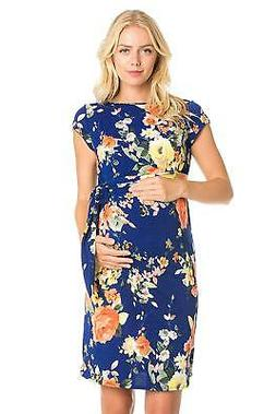 My Bump Women's Side Bow Tie Pattern Cap Sleeve Maternity Dr