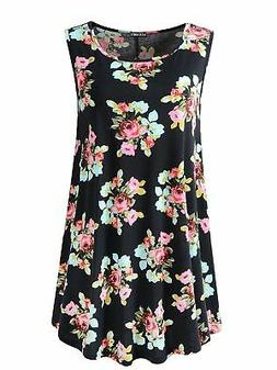Veranee Women's Sleeveless Swing Tunic Summer Floral Flare T