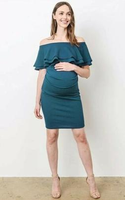 LaClef Women's Teal Off Shoulder Maternity Dress Double Ruff