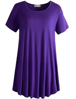 women short sleeves flare tunic tops