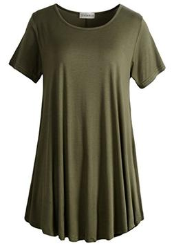 LARACE Women Short Sleeves Flare Tunic Tops for Leggings Flo