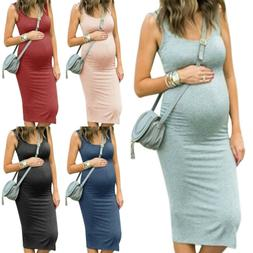Women Sleeveless Maternity Bodycon Dress Summer Casual Pregn