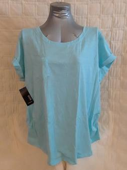 WOMENS A.N.A. MATERNITY TEE SHIRT, RUCHED SIDES, GULF SKY,