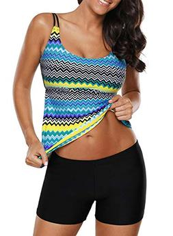 Asvivid Womens Printed Strappy Open Back Tankini Set Two Pie