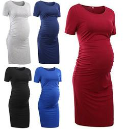 Womens Ruched Maternity Bodycon Solid Dress Mama Causual Sho