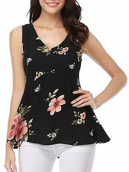 FENSACE Womens Summer Sleeveless V-Neck Loose Floral Tank To