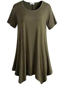 LARACE Womens Swing Tunic Tops Loose Fit Comfy Flattering T