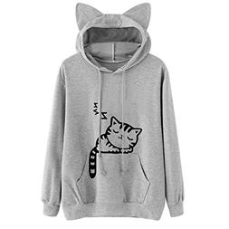 Womens Tops Sale,KIKOY Girls Cat Hooded Long Sleeve Sweatshi