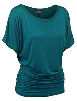 Made By Johnny WT817 Womens Dolman Drape Top with Side Shirr